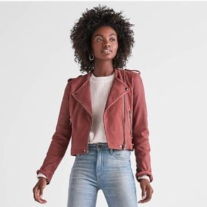 NWOT Lucky Brand Washed Leather Moto Jacket Rose S